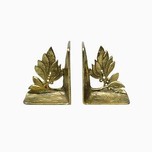 Bronze Buchstützen mit floralen Elementen im brutalistischen Stil, 1970er, 2er Set