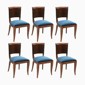 Macassar Ebony Dining Chairs by Maison Dominique, France, 1930s, Set of 6