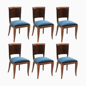 Makassar Ebenholz Esszimmerstühle von Maison Dominique, Frankreich, 1930er, 6er Set