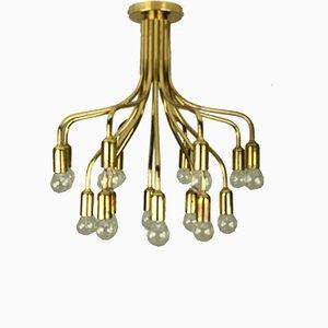 Vintage Brass 16-Light Chandelier by Gaetano Sciolari, 1970s
