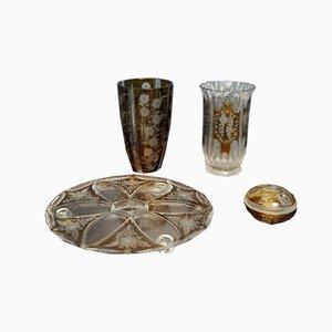 Polish Decorative Crystal Pieces from Huta Szkła Julia, Set of 4