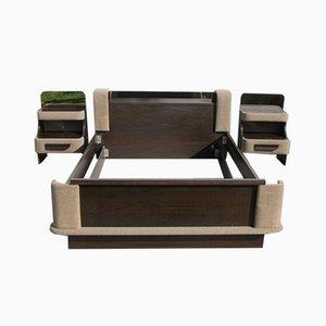 Vintage Double Bed & Bedside Tables, 1970s, Set of 3