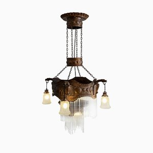 Handcrafted Secessionist Copper and Glass Dragon Chandelier, Austria or Hungary, 1900s