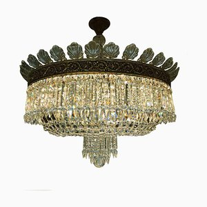 Large Ceiling Lamp in Bronze and Crystal