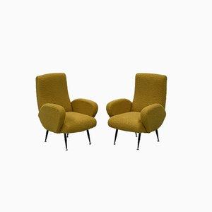 Italienische Gelbe Boucle Stühle, 1950er, 2er Set