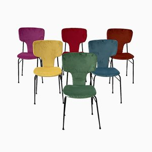 Mid-Century Modern Colorful Dining Chairs, Set of 6