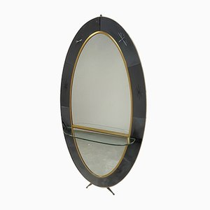 Mirror Console in Brass & Murano Glass from Cristal Art, 1950s
