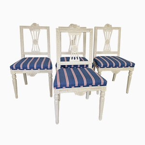 Gustavian Chairs in New Upholstery, Set of 4