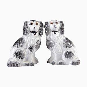 Mid-Century Staffordshire Dog Figurines, Set of 2