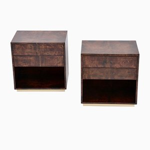 Mid-Century Modern Brown Bedside Tables in Lacquered Goatskin by Aldo Tura, Set of 2
