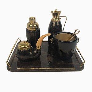 Barware Set mit Tablett aus Messing & Pergament von Aldo Tura, Italien, 1950er, 5er Set