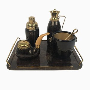 Barware Set with Tray in Brass and Parchment by Aldo Tura, Italy, 1950s, Set of 5