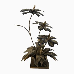 Vintage French Brass Table Lamp with Lotus Flowers from Maison Jansen