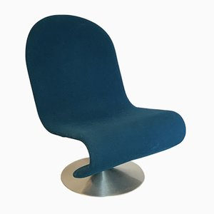 Turquoise-Blue Model 1-2-3 Lounge Chair by Verner Panton for Fritz Hansen, 1970s