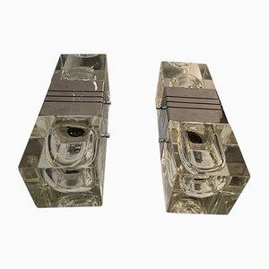 Mid-Century Crystal & Chrome Sconces by Gaetano Sciolari, Set of 2