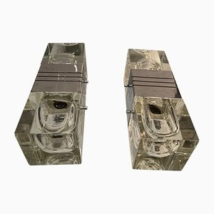 Mid-Century Wandleuchten aus Kristallglas & Chrom von Gaetano Sciolari, 2er Set