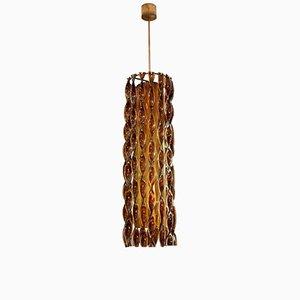 Lámpara colgante italiana de cristal de Murano y latón dorado, años 60