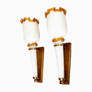Vintage Italian Wall Light in Glass and Brass by Paolo Venini for Murano, 1950s, Set of 2