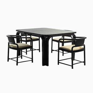 Tavolo e 4 sedie da pranzo vintage di Luigi Massoni, anni '70, set di 5
