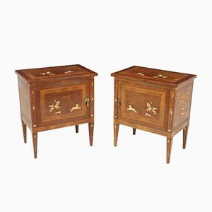 Italian Neoclassical Inlaid Bedside Cabinets, Set of 2
