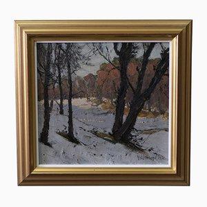 Viktor Holmlund, Swedish Painting, Oil on Cardboard, 1916