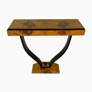French Art Deco Olive Ash Burl and Black Lacquered Console