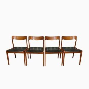 Dining Chairs in Teak & Black Leather, 1960s, Set of 4