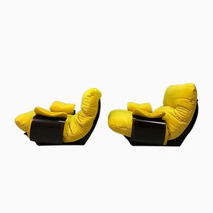 Vintage French Marsala 1-Seat Sofas Chairs by Michel Ducaroy Ligne Roset, Set of 2