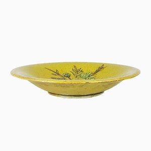 Mid-Century Modern Decorative Green Ceramic Plate with Still Life by Pietro Melandri