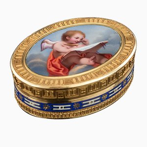 19th Century Swiss 18k Gold & Enamel Vinaigrette from Jean-Georges Rémond, 1800s