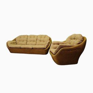 Vintage Egg Sofa Settee and Egg Chair, 1980s, Set of 2