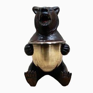 Small Black Forest Carved Bear with Brass Bowl