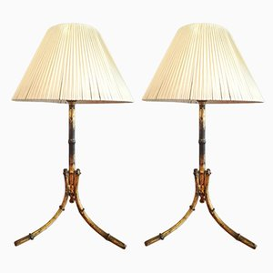 Table Lamps in Imitation Bamboo Gilt Metal, 1950s, Set of 2