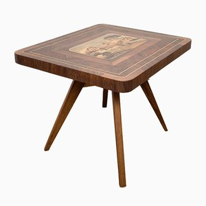 Wooden Coffee Table with Inlay, 1940s