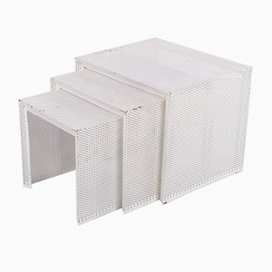 White Metal Nesting Tables by Mathieu Matégot, Set of 3
