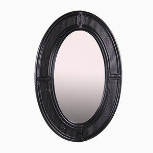 Big Oval Black Bamboo and Rattan Wall Mirror