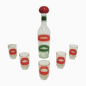 Bottiglia e bicchieri per liquore, anni '60, set di 6