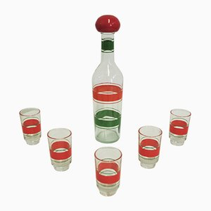 Flasche und Gläser für Likör, 1960er, 6er Set