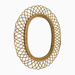 Vintage Italian Oval Bamboo Mirror, 1960s