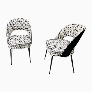 Lounge Chair with Black and White Patterned Fabric by Gabetti, Italy, Set of 2