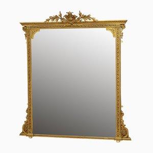 Big English Giltwood Overmantle Mirror