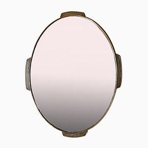 Specchio da parete ovale Mid-Century in ottone, Italia, anni '50
