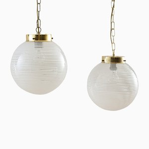 Murano Glass Swirl Lamps with Brass Chain from Venini, Italy, 1970s, Set of 2