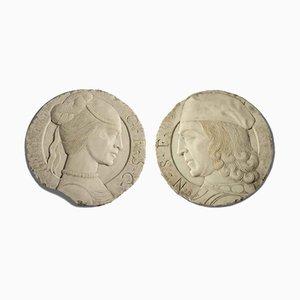 Bassorilievo in marmo rotondo con profili, set di 2