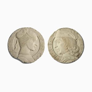 Round Marble Bas-Reliefs with Profiles, Set of 2
