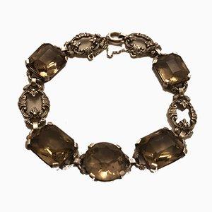 Vintage Art Deco Silver Bracelet with Smoky Quartz Stones, Idar-Oberstein, 1930s