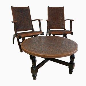 Sedie e tavolo di Angel I. Pazmino per Muebles de Estilo, Ecuador, anni '60, set di 3