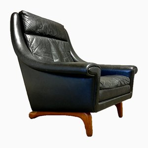 Big Black Leather Lounge Chair, 1950s