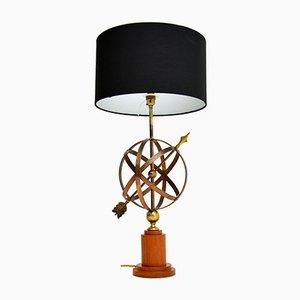 Vintage Messing & Teak Armillary Sphere Tischlampe