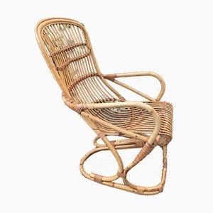 Rattan Armchair by Tito Agnoli